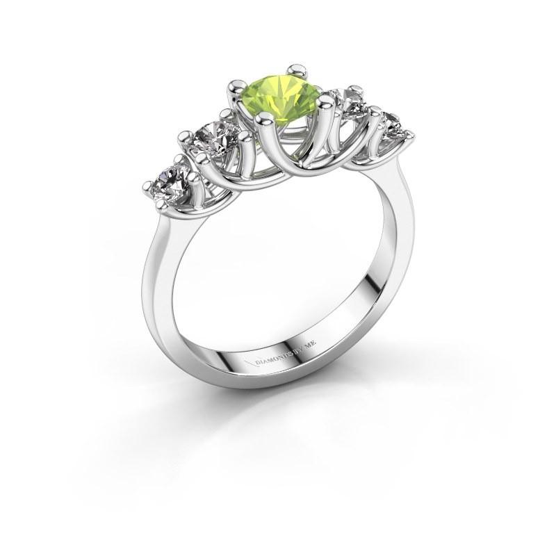 Engagement ring Jet 585 white gold peridot 5 mm