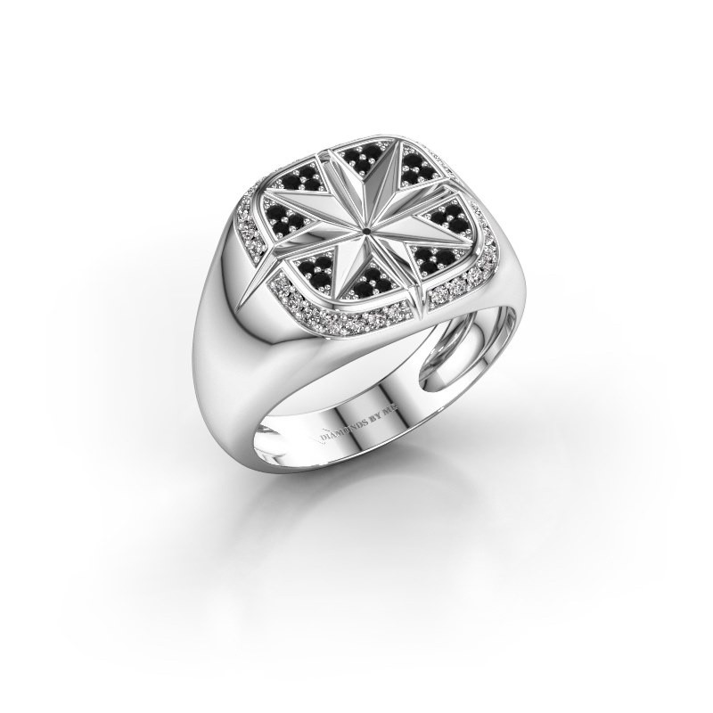 Heren ring Ravi 375 witgoud zwarte diamant 0.378 crt