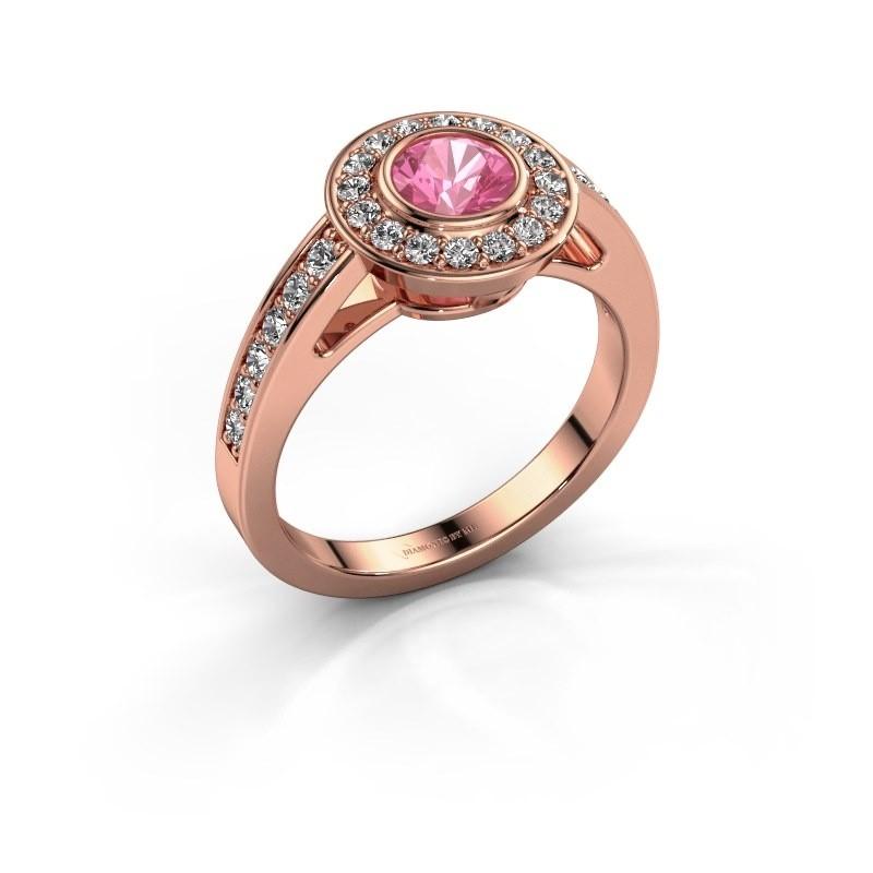Verlovingsring Raven 1 375 rosé goud roze saffier 5 mm