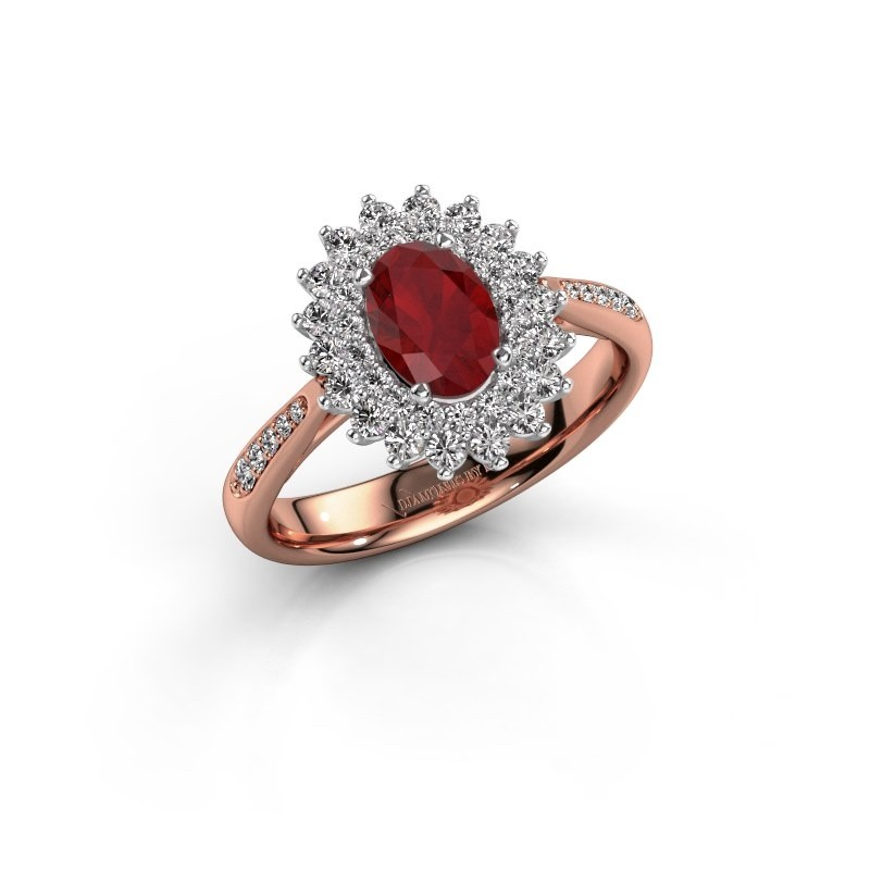 Engagement ring Alina 2 585 rose gold ruby 7x5 mm