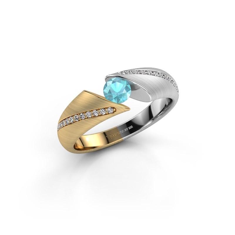 Verlovingsring Hojalien 2 585 goud blauw topaas 4.2 mm