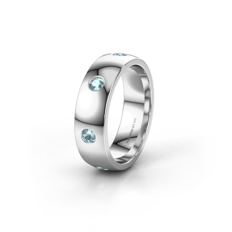 Wedding ring WH0105L26BP 925 silver aquamarine ±6x2 mm