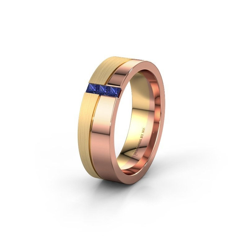 Wedding ring WH0906L16A 585 rose gold sapphire ±6x1.7 mm