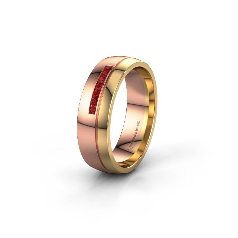 Trouwring WH0308L26AP 585 rosé goud robijn ±6x1.7 mm