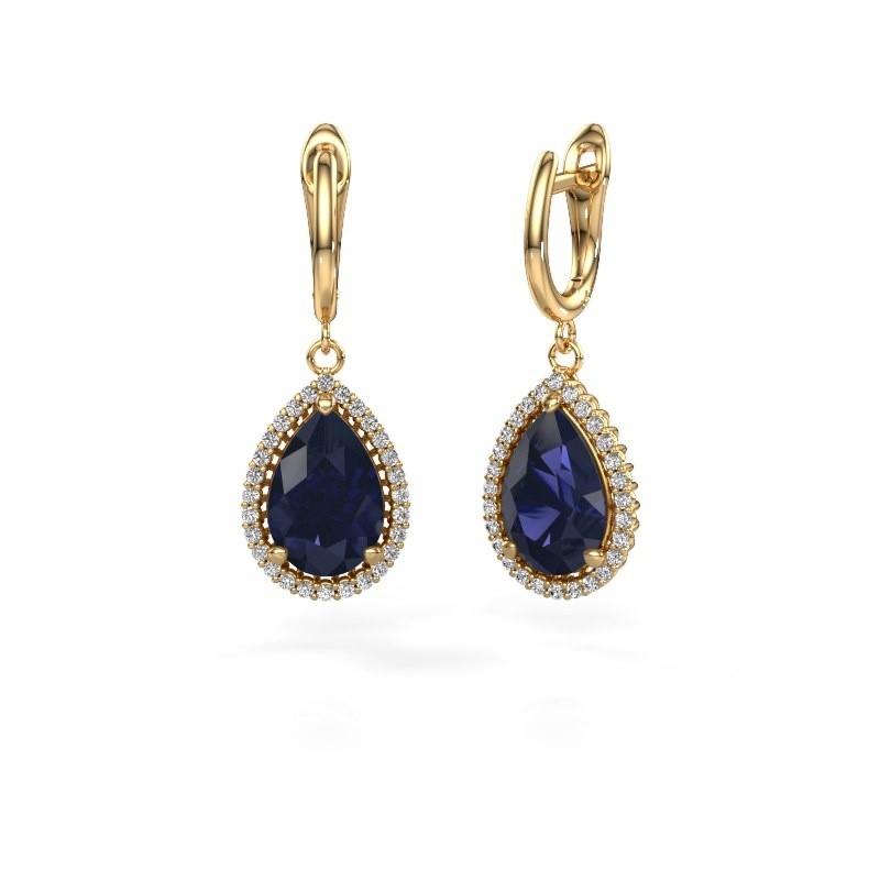 Drop earrings Hana 1 585 gold sapphire 12x8 mm