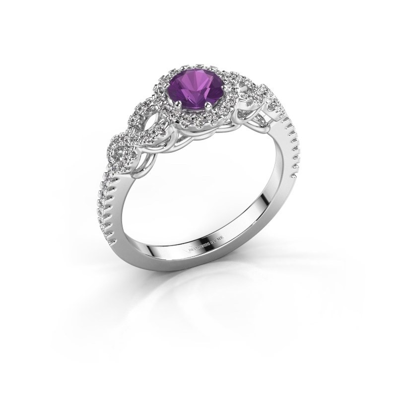 Engagement ring Sasja 925 silver amethyst 5 mm