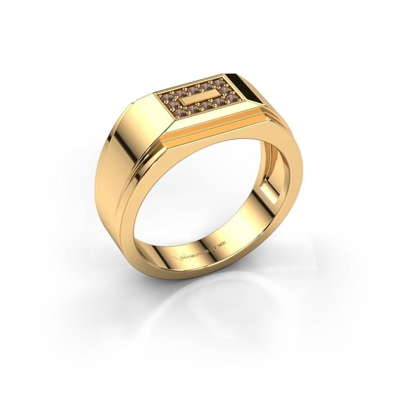 Men's ring Roan 375 gold brown diamond 0.18 crt