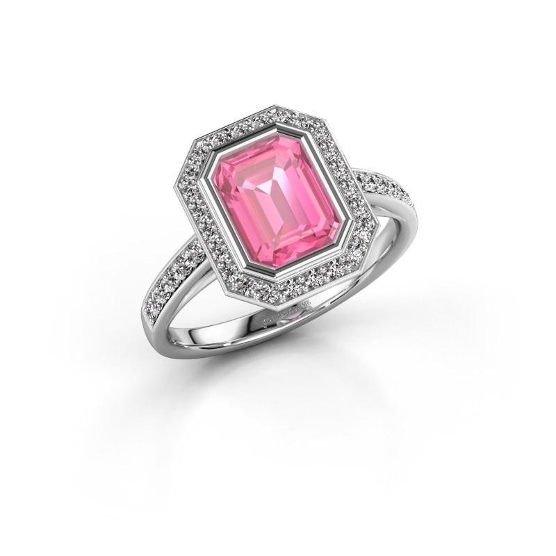 Verlovingsring Noud 2 EME 585 witgoud roze saffier 8x6 mm