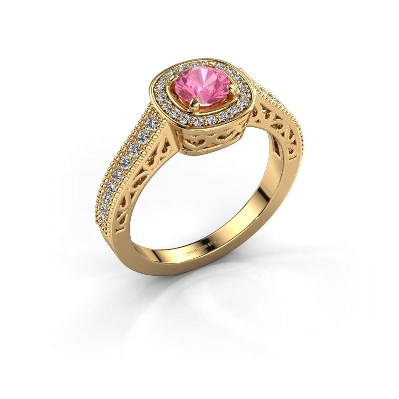 Verlovings ring Candi 375 goud roze saffier 5 mm