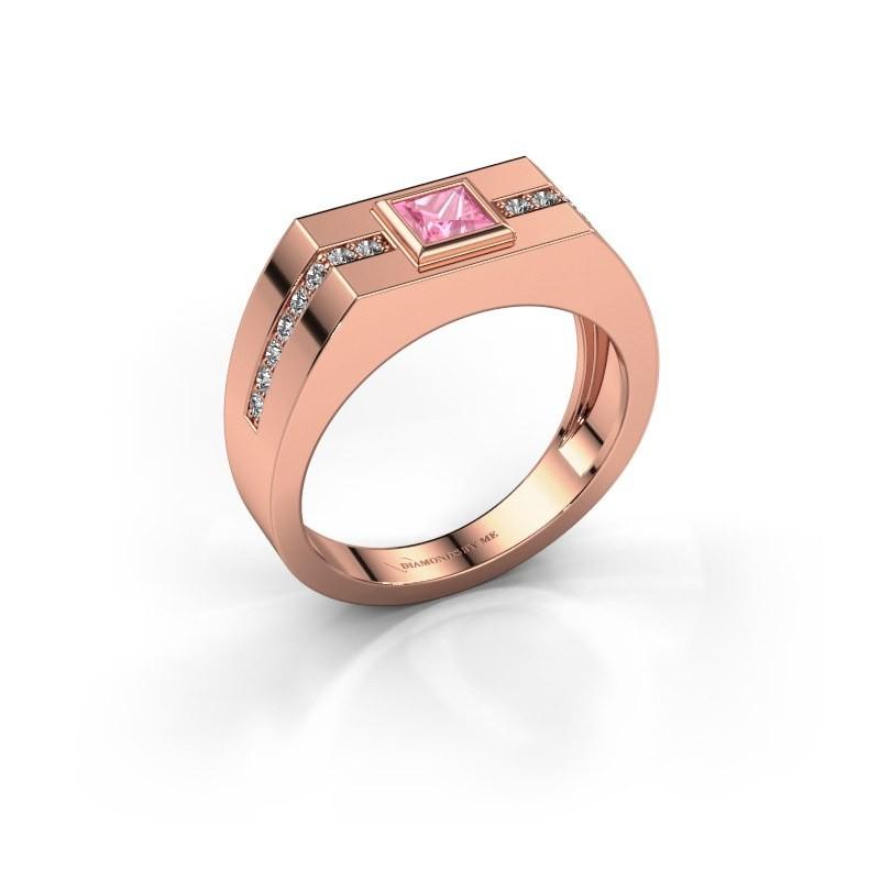 Herrenring Robertus 2 375 Roségold Pink Saphir 4 mm