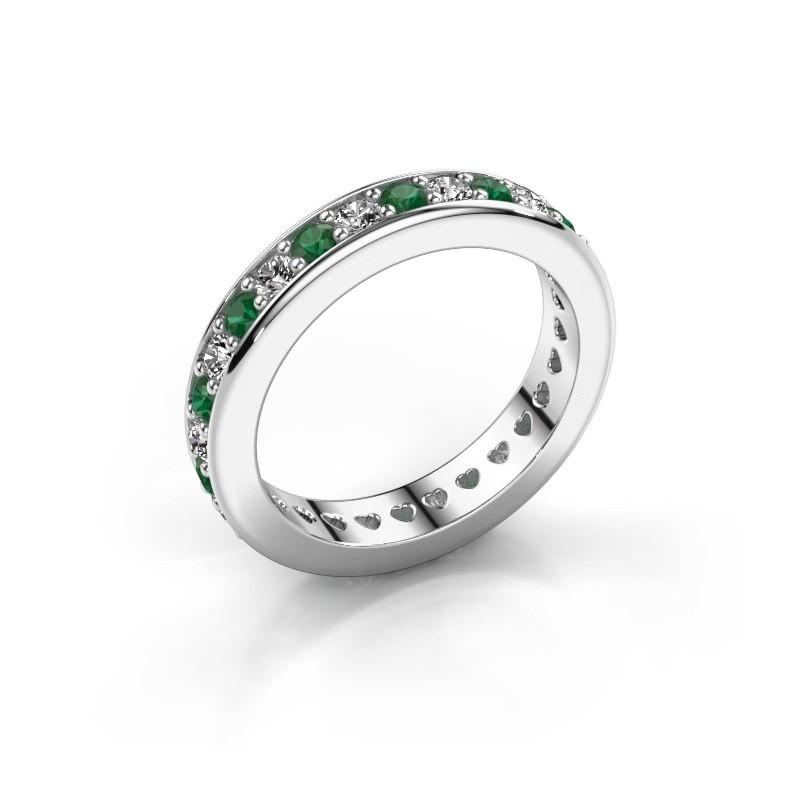 Aanschuifring Nienke 585 witgoud smaragd 2.2 mm