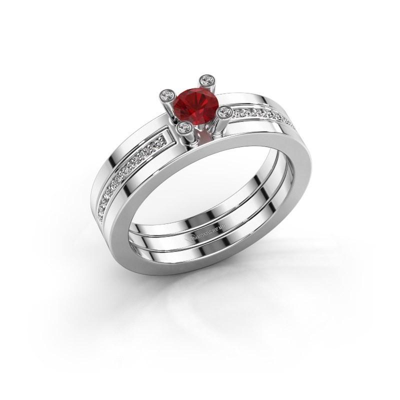 Ring Alisha 585 witgoud robijn 4 mm