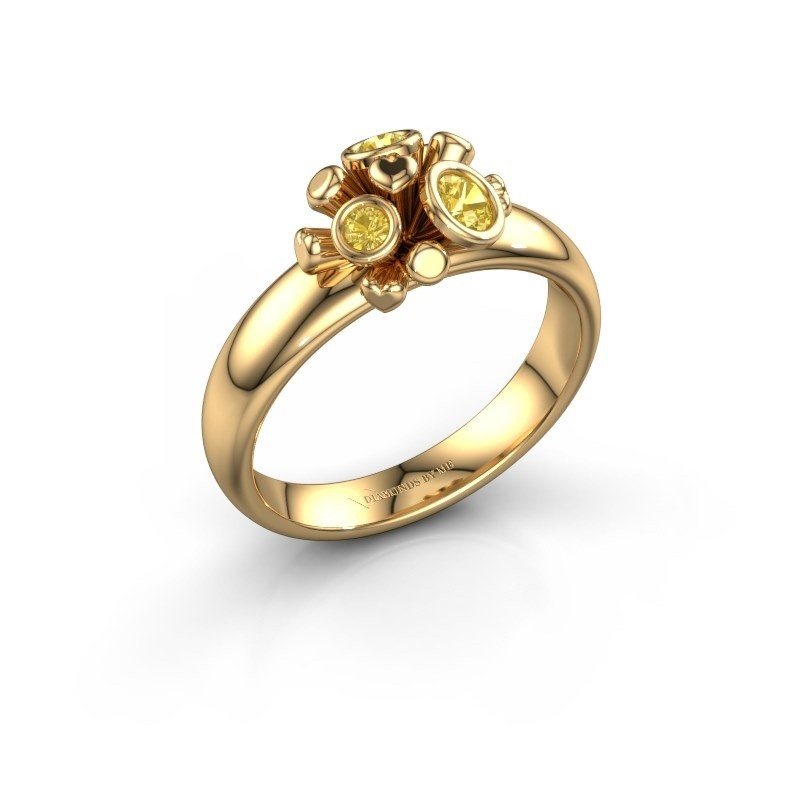 Ring Pameila 585 goud gele saffier 2 mm