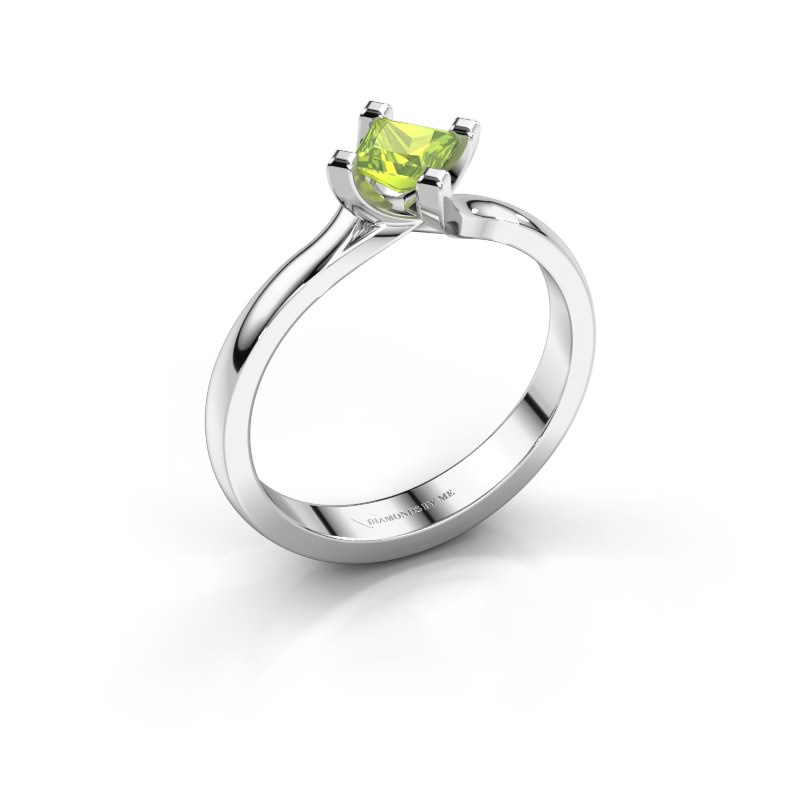 Engagement ring Dewi Square 925 silver peridot 4 mm