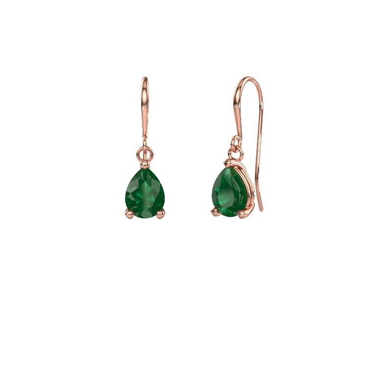 Drop earrings Laurie 1 375 rose gold emerald 8x6 mm