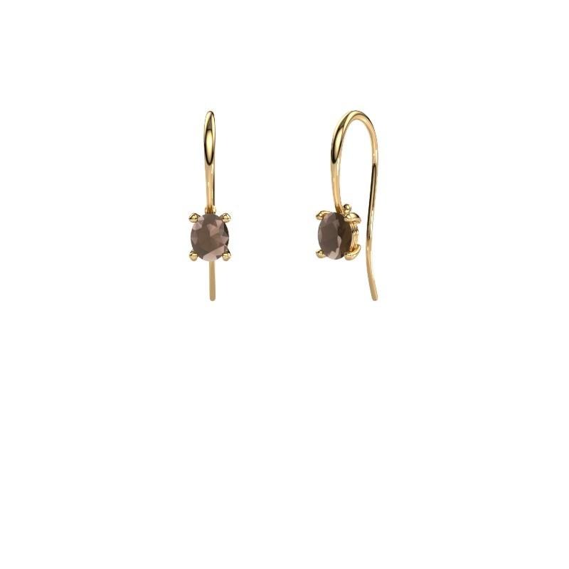Oorhangers Cleo 585 goud rookkwarts 6x4 mm