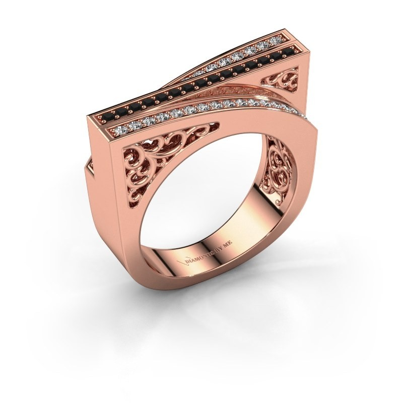 Ring Magda 375 rosé goud zwarte diamant 0.36 crt