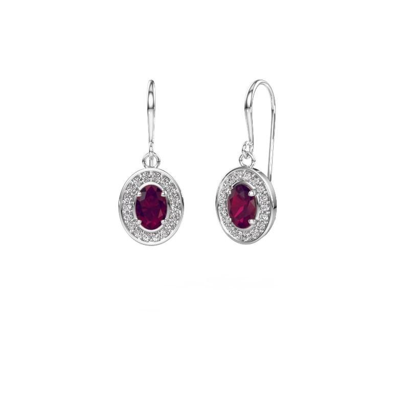 Drop earrings Layne 1 585 white gold rhodolite 6.5x4.5 mm