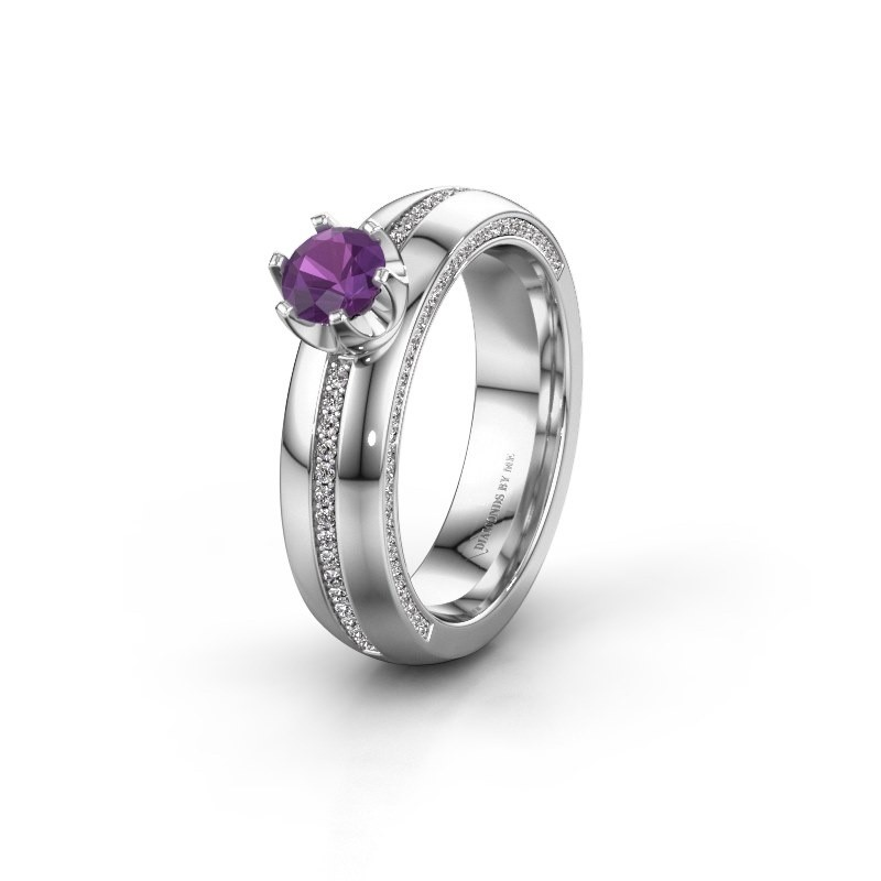 Weddings ring WH0416L25E 585 white gold amethyst ±5x2.6 mm