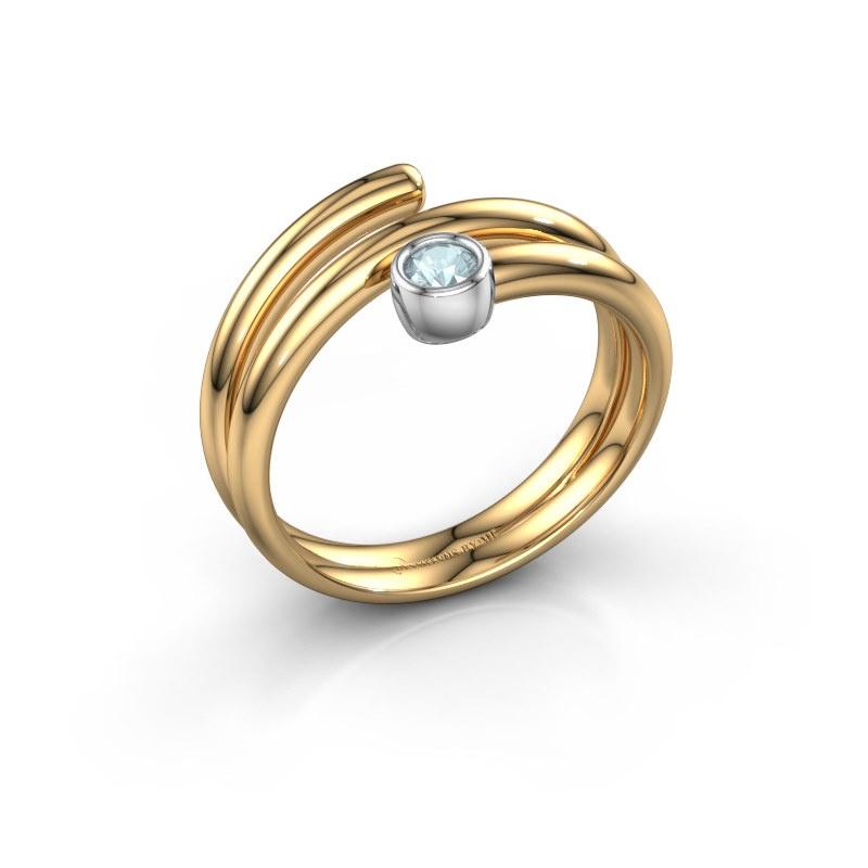Ring Jenna 585 goud aquamarijn 3 mm