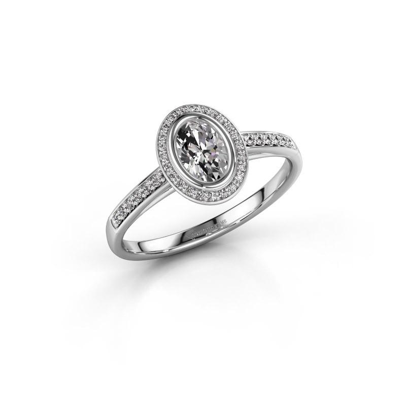 Engagement ring Noud 2 OVL 950 platinum zirconia 6x4 mm