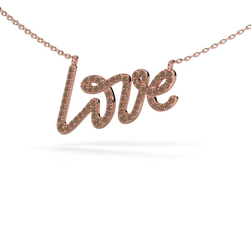 Pendentif Love 375 or rose diamant brun 0.357 crt