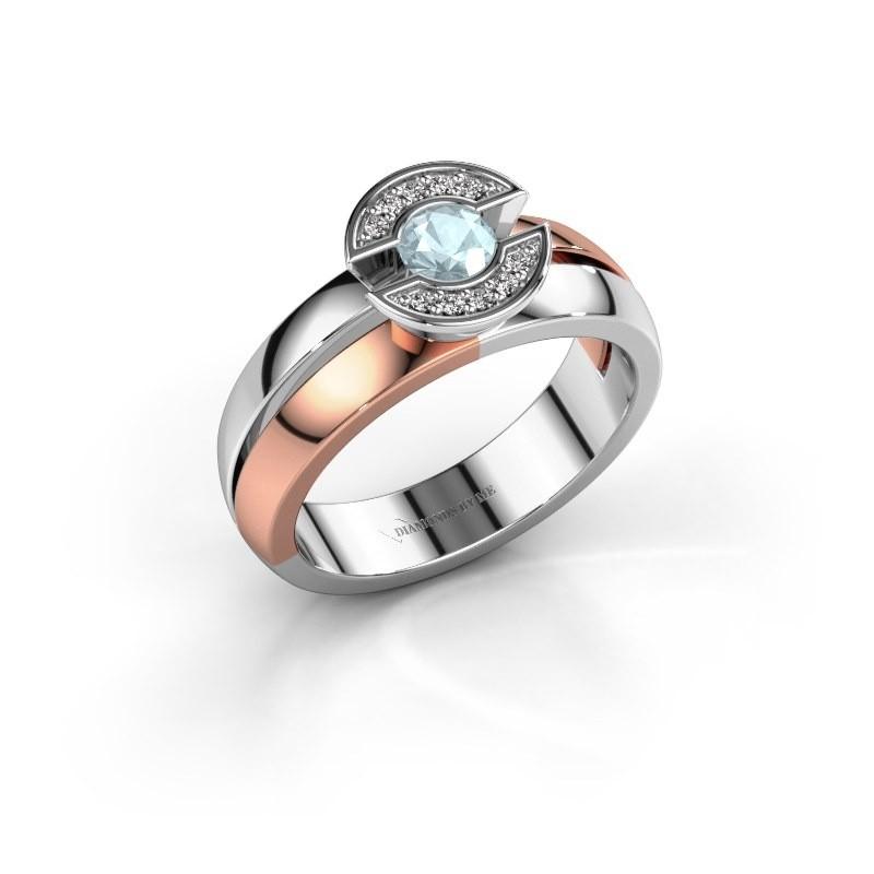 Ring Jeanet 1 585 rosé goud aquamarijn 4 mm