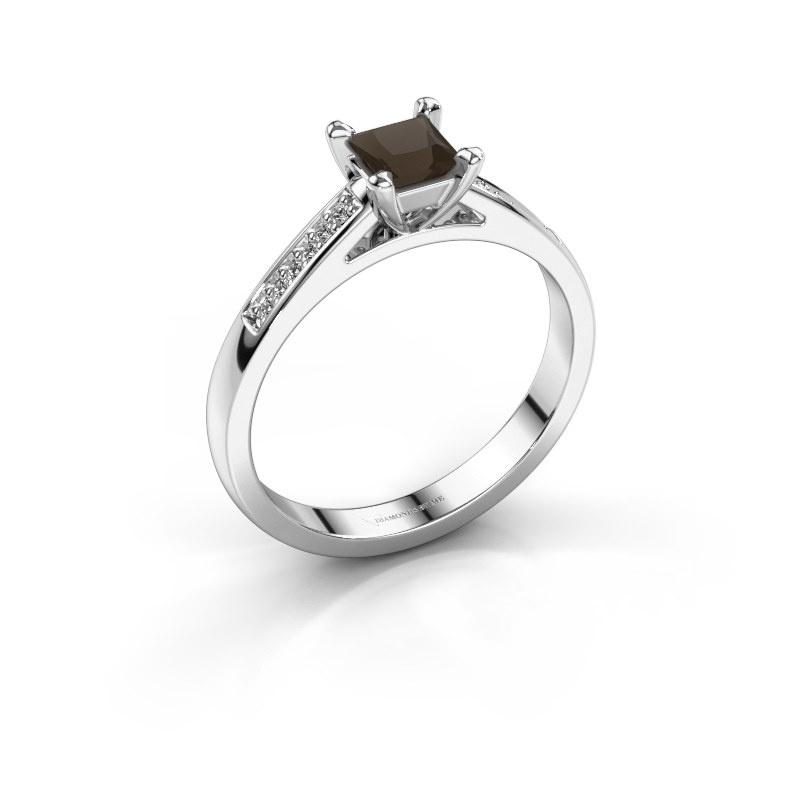 Engagement ring Nynke SQR 585 white gold smokey quartz 4 mm