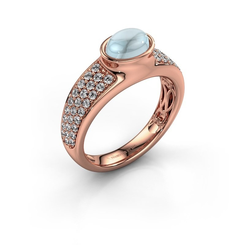 Ring Tatyana 375 rosé goud aquamarijn 7x5 mm