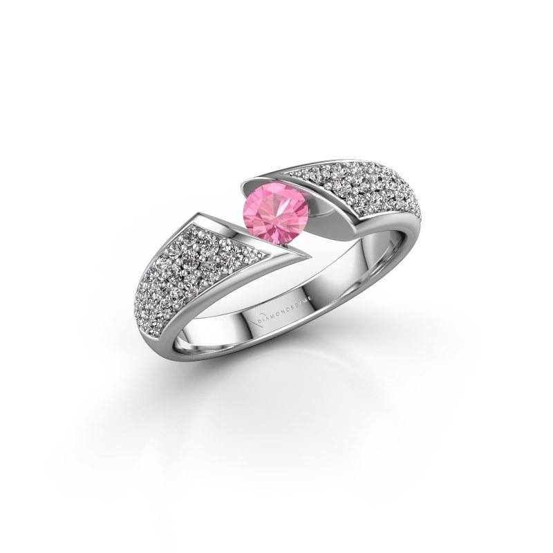Engagement ring Hojalien 3 950 platinum pink sapphire 4.2 mm