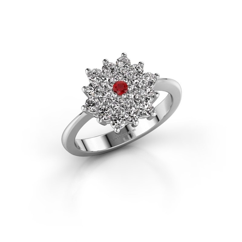 Engagement ring Vickey 2 585 white gold ruby 2 mm