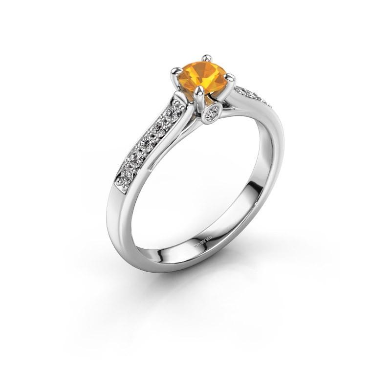 Engagement ring Valorie 2 585 white gold citrin 4.7 mm