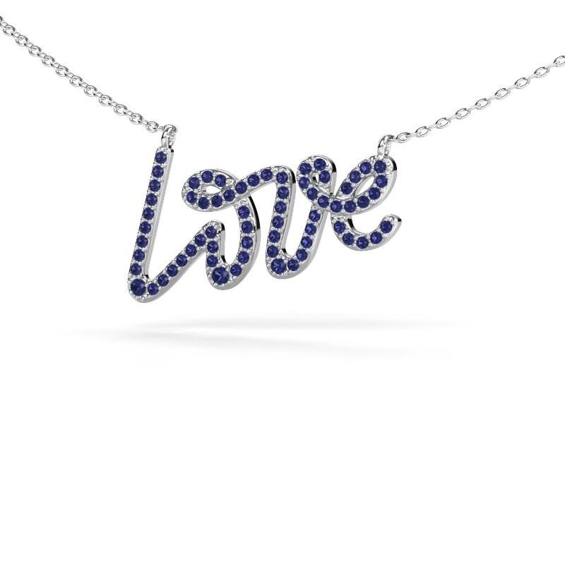 Hanger Love 925 zilver saffier 1 mm