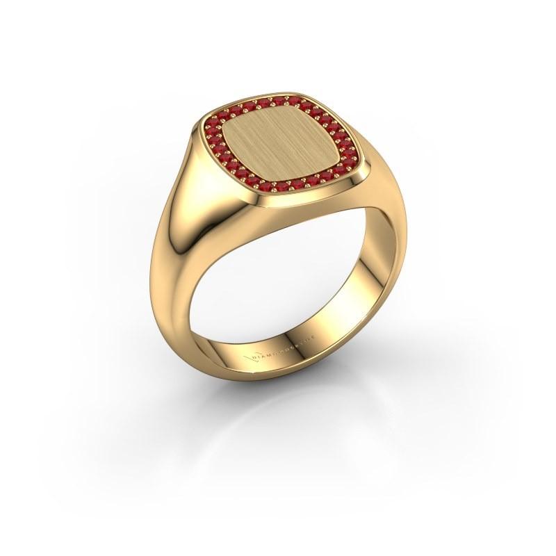 Men's ring Floris Cushion 2 585 gold ruby 1.2 mm