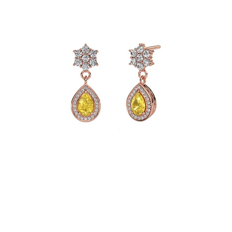 Drop earrings Era 585 rose gold yellow sapphire 6x4 mm