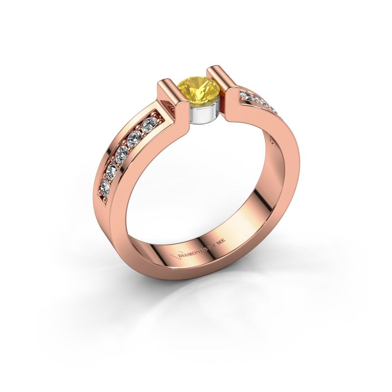Engagement ring Isabel 2 585 rose gold yellow sapphire 4 mm