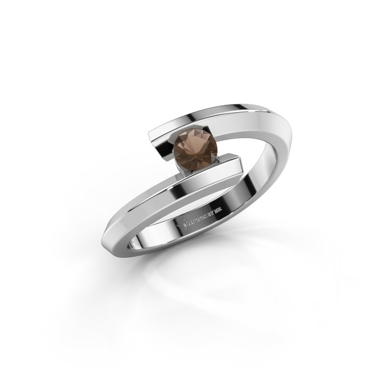 Ring Paulette 925 silver smokey quartz 3.4 mm
