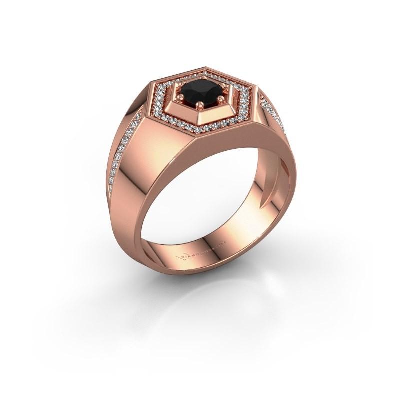 Men's ring Sjoerd 375 rose gold black diamond 0.81 crt
