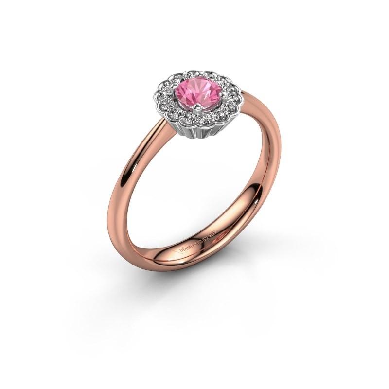 Verlovingsring Debi 585 rosé goud roze saffier 4.2 mm