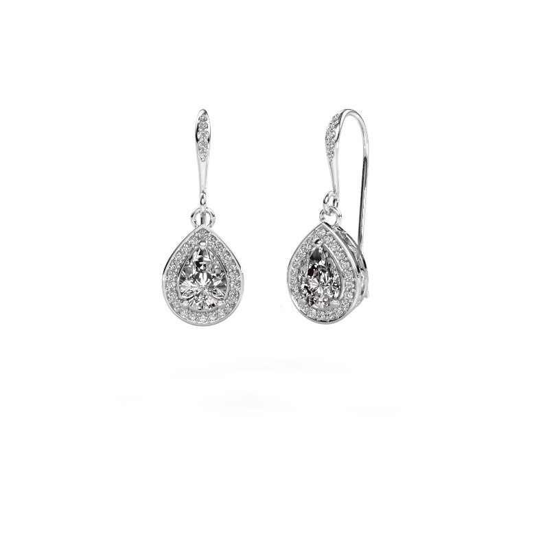 Drop earrings Beverlee 2 585 white gold zirconia 7x5 mm