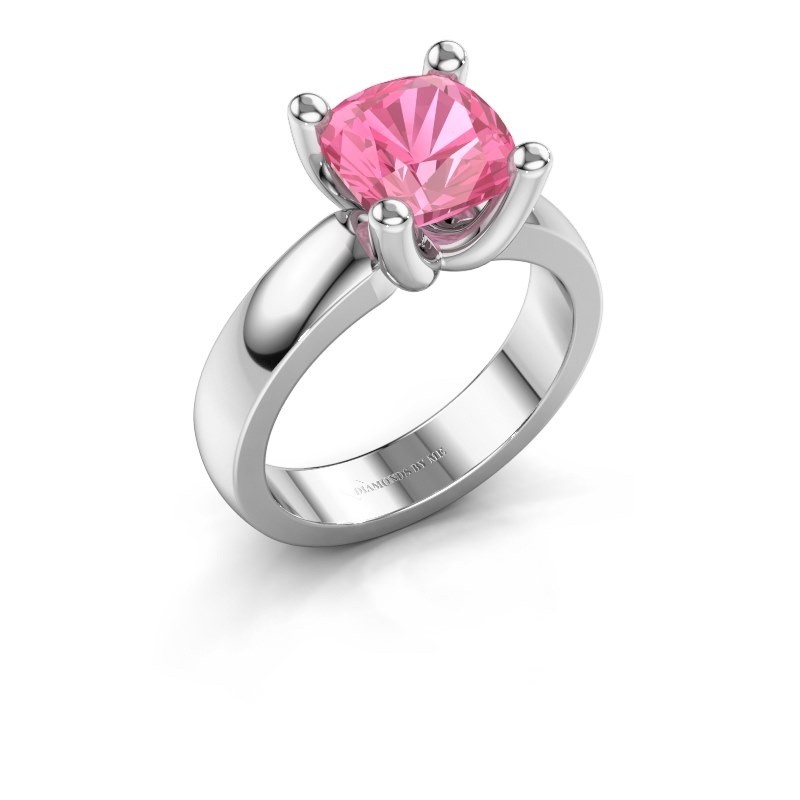 Ring Clelia CUS 925 zilver roze saffier 8 mm