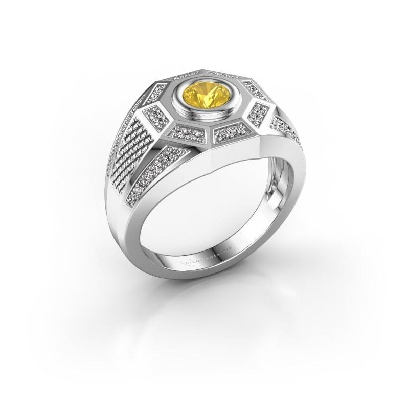 Heren ring Enzo 375 witgoud gele saffier 5 mm