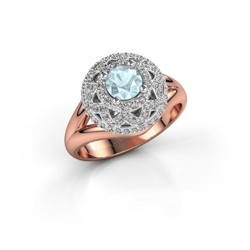 Ring Leonora 585 rose gold aquamarine 5 mm