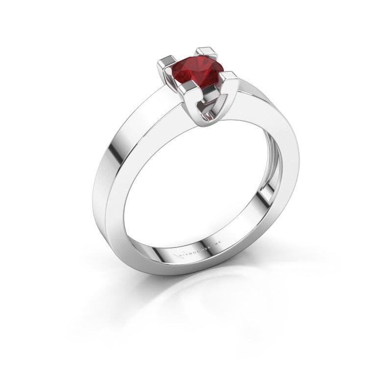 Promise ring Anne 1 950 platina robijn 4.7 mm