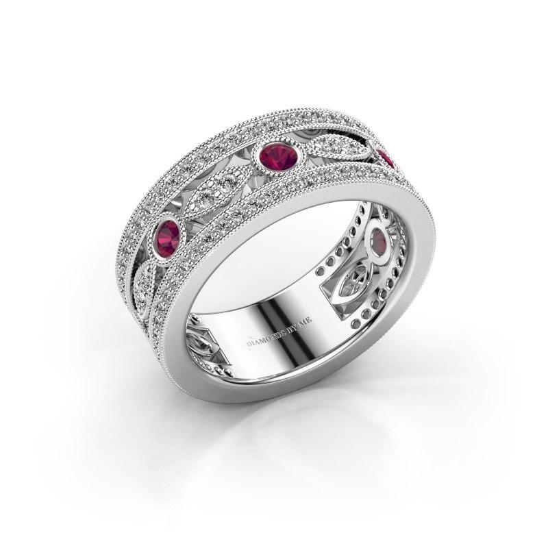 Ring Jessica 585 witgoud rhodoliet 2.5 mm
