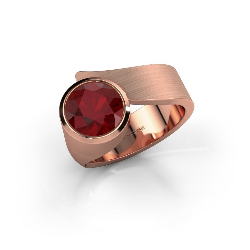 Ring Nakia 375 rosé goud robijn 8 mm
