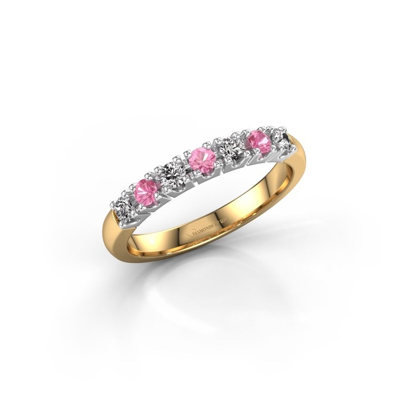 Engagement ring Rianne 7 585 gold pink sapphire 2.4 mm