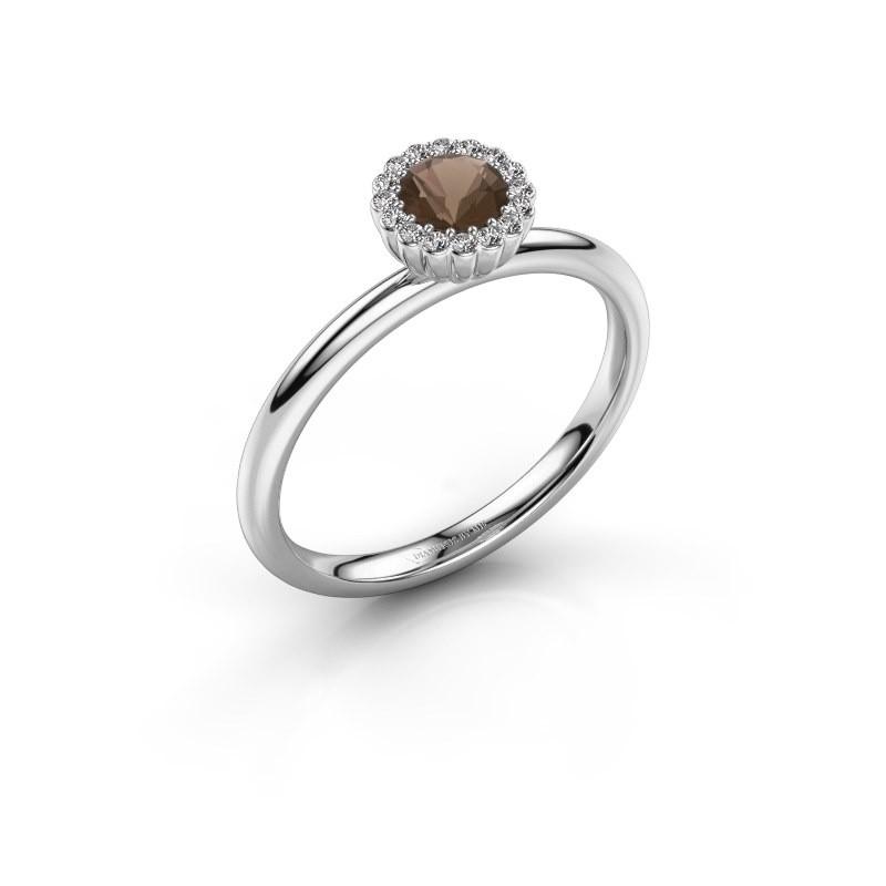 Engagement ring Queen 950 platinum smokey quartz 4.2 mm