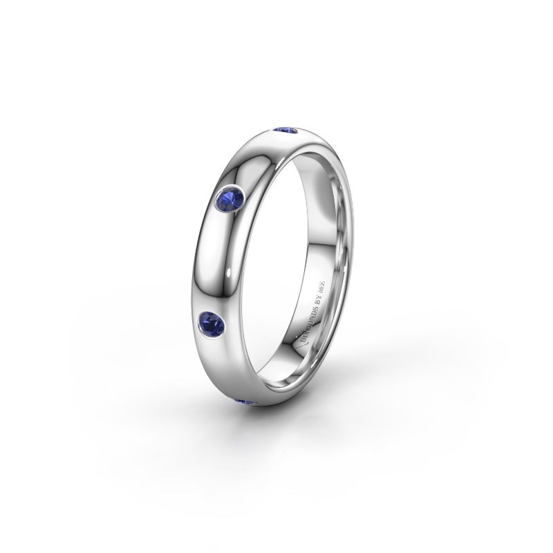 Wedding ring WH0105L34BP 375 white gold sapphire ±4x2 mm