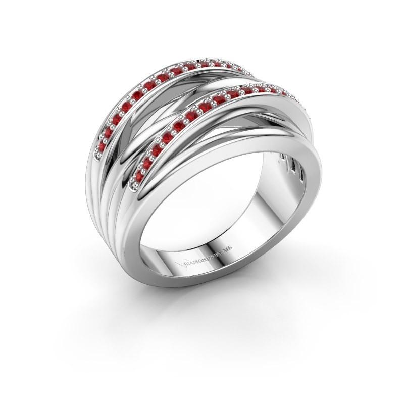 Ring Annabel 2 925 zilver robijn 1.2 mm